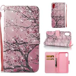 Cherry Tree 3D Painted Leather Wallet Case for iPhone Xr (6.1 inch)