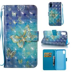 Gold Butterfly 3D Painted Leather Wallet Case for iPhone Xr (6.1 inch)