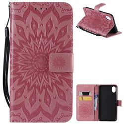 Embossing Sunflower Leather Wallet Case for iPhone Xr (6.1 inch) - Pink