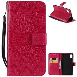 Embossing Sunflower Leather Wallet Case for iPhone Xr (6.1 inch) - Red