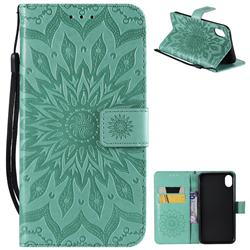 Embossing Sunflower Leather Wallet Case for iPhone Xr (6.1 inch) - Green