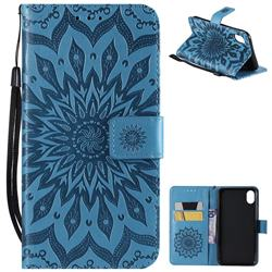 Embossing Sunflower Leather Wallet Case for iPhone Xr (6.1 inch) - Blue