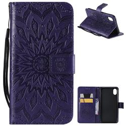 Embossing Sunflower Leather Wallet Case for iPhone Xr (6.1 inch) - Purple