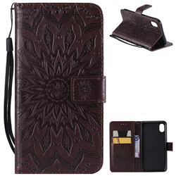 Embossing Sunflower Leather Wallet Case for iPhone Xr (6.1 inch) - Brown
