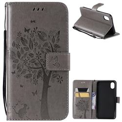 Embossing Butterfly Tree Leather Wallet Case for iPhone Xr (6.1 inch) - Grey