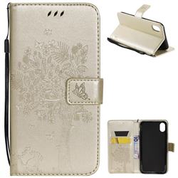 Embossing Butterfly Tree Leather Wallet Case for iPhone Xr (6.1 inch) - Champagne