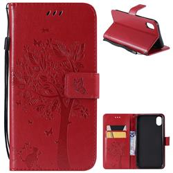 Embossing Butterfly Tree Leather Wallet Case for iPhone Xr (6.1 inch) - Red
