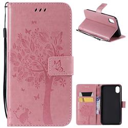Embossing Butterfly Tree Leather Wallet Case for iPhone Xr (6.1 inch) - Pink