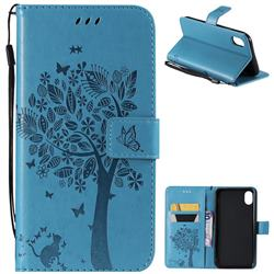 Embossing Butterfly Tree Leather Wallet Case for iPhone Xr (6.1 inch) - Blue