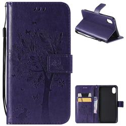 Embossing Butterfly Tree Leather Wallet Case for iPhone Xr (6.1 inch) - Purple