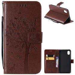 Embossing Butterfly Tree Leather Wallet Case for iPhone Xr (6.1 inch) - Coffee