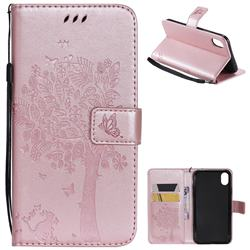 Embossing Butterfly Tree Leather Wallet Case for iPhone Xr (6.1 inch) - Rose Pink
