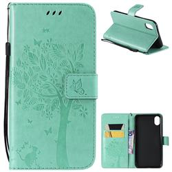 Embossing Butterfly Tree Leather Wallet Case for iPhone Xr (6.1 inch) - Cyan
