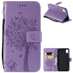 Embossing Butterfly Tree Leather Wallet Case for iPhone Xr (6.1 inch) - Violet