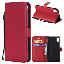 Retro Greek Classic Smooth PU Leather Wallet Phone Case for iPhone Xr (6.1 inch) - Red