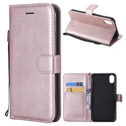 Retro Greek Classic Smooth PU Leather Wallet Phone Case for iPhone Xr (6.1 inch) - Rose Gold