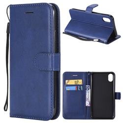 Retro Greek Classic Smooth PU Leather Wallet Phone Case for iPhone Xr (6.1 inch) - Blue
