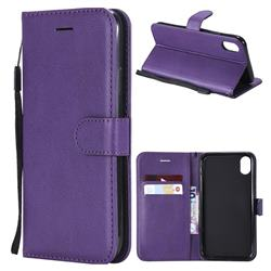 Retro Greek Classic Smooth PU Leather Wallet Phone Case for iPhone Xr (6.1 inch) - Purple