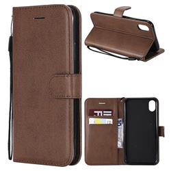 Retro Greek Classic Smooth PU Leather Wallet Phone Case for iPhone Xr (6.1 inch) - Brown