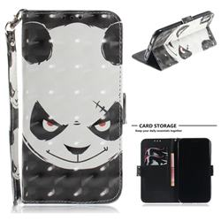 Angry Bear 3D Painted Leather Wallet Phone Case for iPhone Xr (6.1 inch)