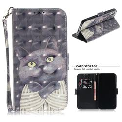 Cat Embrace 3D Painted Leather Wallet Phone Case for iPhone Xr (6.1 inch)