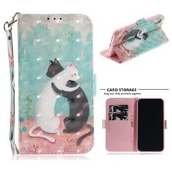 Black and White Cat 3D Painted Leather Wallet Phone Case for iPhone Xr (6.1 inch)