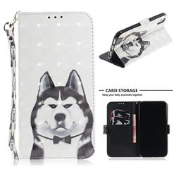 Husky Dog 3D Painted Leather Wallet Phone Case for iPhone Xr (6.1 inch)