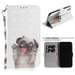 Pug Dog 3D Painted Leather Wallet Phone Case for iPhone Xr (6.1 inch)