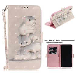 Three Squirrels 3D Painted Leather Wallet Phone Case for iPhone Xr (6.1 inch)