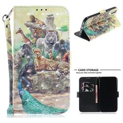 Beast Zoo 3D Painted Leather Wallet Phone Case for iPhone Xr (6.1 inch)