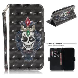Skull Cat 3D Painted Leather Wallet Phone Case for iPhone Xr (6.1 inch)