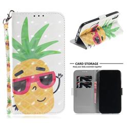 Pineapple Glasses 3D Painted Leather Wallet Phone Case for iPhone Xr (6.1 inch)