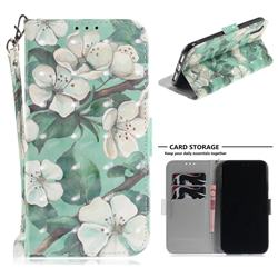 Watercolor Flower 3D Painted Leather Wallet Phone Case for iPhone Xr (6.1 inch)