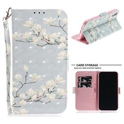 Magnolia Flower 3D Painted Leather Wallet Phone Case for iPhone Xr (6.1 inch)