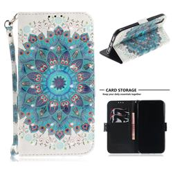 Peacock Mandala 3D Painted Leather Wallet Phone Case for iPhone Xr (6.1 inch)