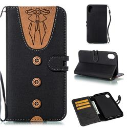 Ladies Bow Clothes Pattern Leather Wallet Phone Case for iPhone Xr (6.1 inch) - Black