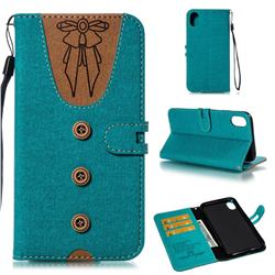 Ladies Bow Clothes Pattern Leather Wallet Phone Case for iPhone Xr (6.1 inch) - Green
