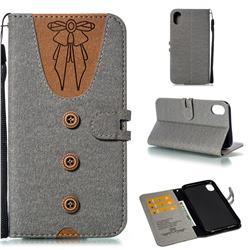 Ladies Bow Clothes Pattern Leather Wallet Phone Case for iPhone Xr (6.1 inch) - Gray