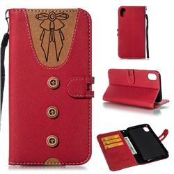 Ladies Bow Clothes Pattern Leather Wallet Phone Case for iPhone Xr (6.1 inch) - Red