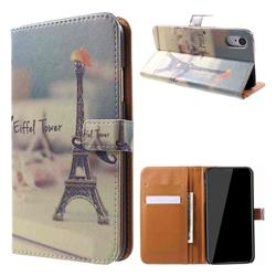 Eiffel Tower Leather Wallet Case for iPhone Xr (6.1 inch)