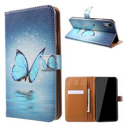 Sea Blue Butterfly Leather Wallet Case for iPhone Xr (6.1 inch)