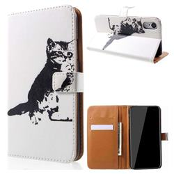 Cute Cat Leather Wallet Case for iPhone Xr (6.1 inch)