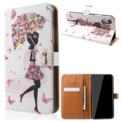 Flower Umbrella Girl Leather Wallet Case for iPhone Xr (6.1 inch)