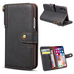 Retro Luxury Cowhide Leather Wallet Case for iPhone Xr (6.1 inch) - Black