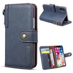 Retro Luxury Cowhide Leather Wallet Case for iPhone Xr (6.1 inch) - Blue
