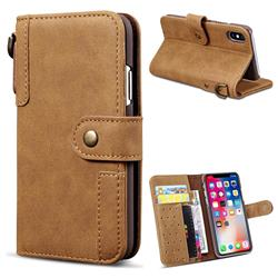 Retro Luxury Cowhide Leather Wallet Case for iPhone Xr (6.1 inch) - Brown