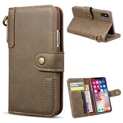 Retro Luxury Cowhide Leather Wallet Case for iPhone Xr (6.1 inch) - Coffee
