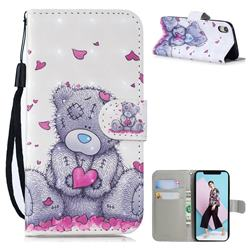 Love Panda 3D Painted Leather Wallet Phone Case for iPhone Xr (6.1 inch)