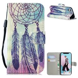 Feather Wind Chimes 3D Painted Leather Wallet Phone Case for iPhone Xr (6.1 inch)