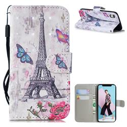 Paris Tower 3D Painted Leather Wallet Phone Case for iPhone Xr (6.1 inch)